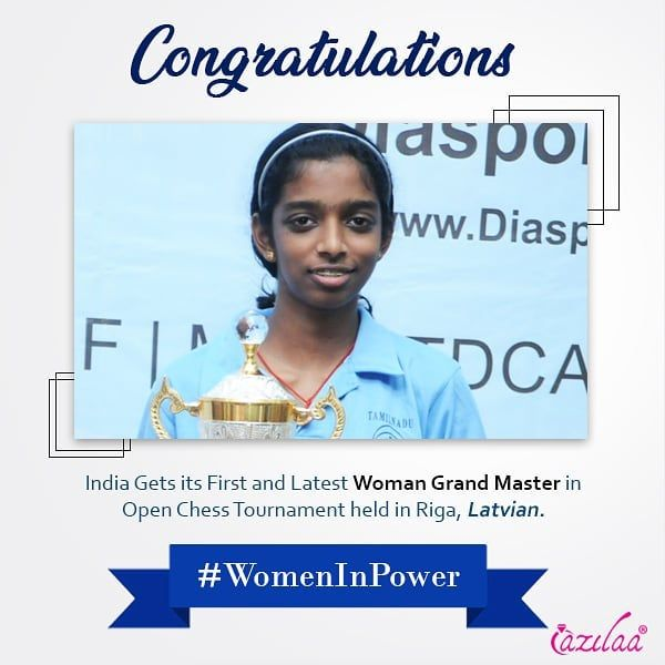 Congratulating R Vaishali On Winning India S First And Latest Woman Grand Master Title In The 8th Riga Technical Un The Grandmaster Technical University Master