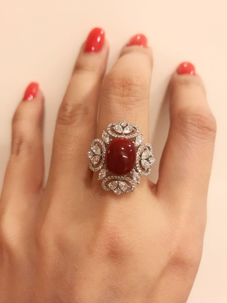 Stunning red coral diamond ring . Sooooo pretty !!