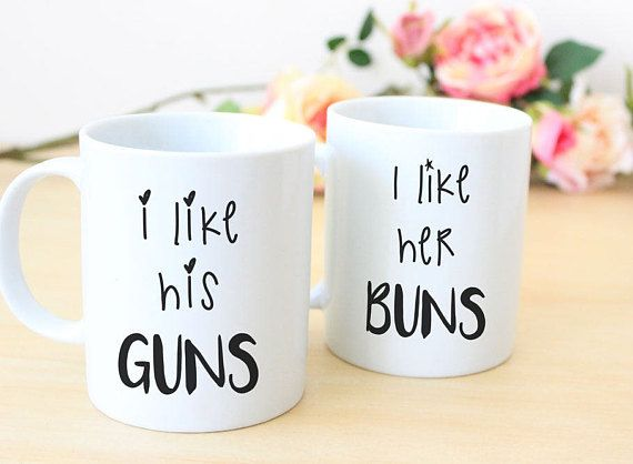funny couples mugs, his and her mug set, newly wed coffee mugs, engagement gift, personalised ceramic mugs, i like her, i like his, cups This His & Hers Funny Coffee Mug set,is a perfect gift for weddings, anniversaries and engagements. A funny and practical gift for the couple who love their hot beverages. These awesome 11oz mugs are printed via sublimation print. The mugs are printed on both sides. One mug is printed with I like his Guns and the other is printed with I like her Buns....