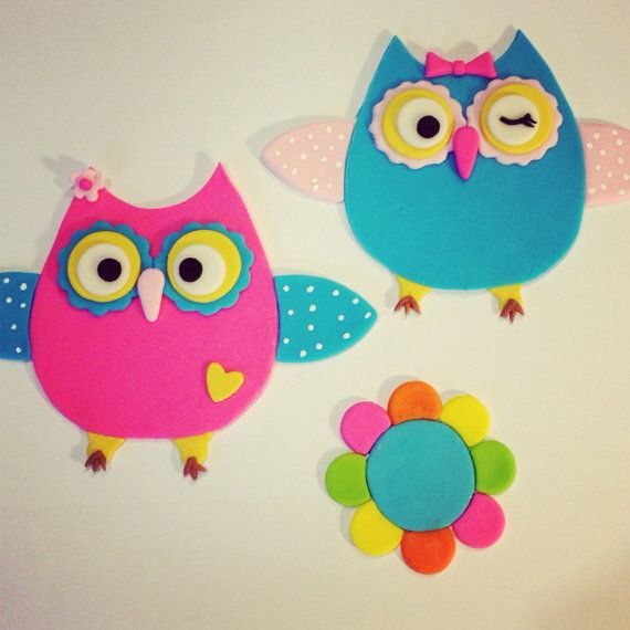 Edible Cake Image Owl : Fondant edible owl cake toppers by JessSweetCakes on Etsy ...