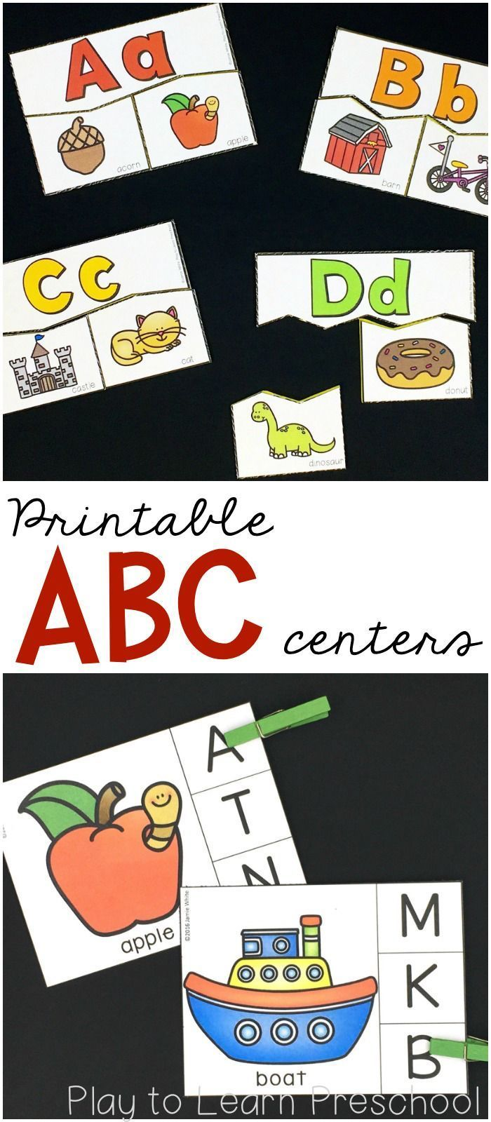 Printable Alphabet practice for young learners-- clip cards, puzzles, dry erase mats and more.