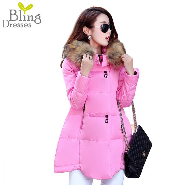 2015 Warm Parks Winter Jacket Women Fashion Long Down Cotton Coat Women Solid Faux Fur Collar Women's Parka Outdoor High Quality