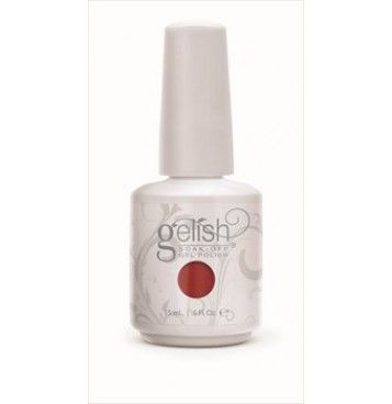 Gelish - Ruby Two-Shoes 15ml bottle is a medium toned red with subtle pink undertones and a hint of frosting which puts out a slight glow. latest shade from the Gelish Red Matters Collection.