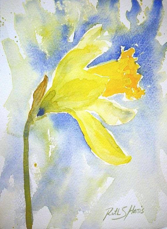 Daffodil Original Watercolour Painting Small Format Art by rsharts, $30.00