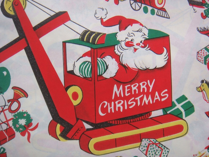 Vintage Gift Wrapping Paper - Santa Delivering Christmas Toys - Made by Dennison - 2 Unused Full Sheets: