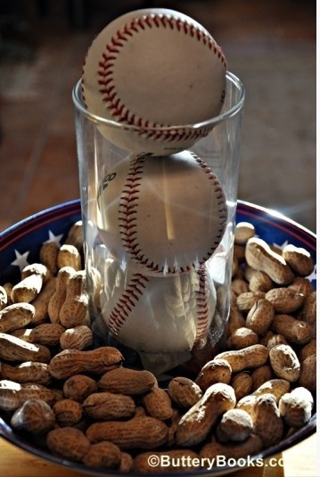 Cute centerpiece for a baseball themed party
