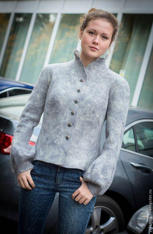 """Купить Валяный жакет""""ЖОЗЕФИНА"""" - серый, абстрактный, авторская ручная работа, одежда для женщин, одежда из войлока"""
