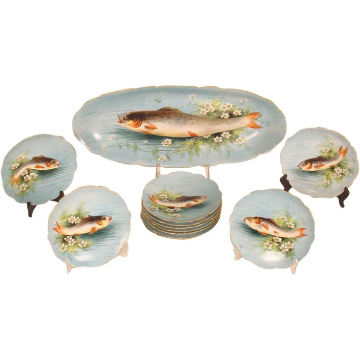 90 best images about Fish Plates Fish Platters Silver Fish Serving Pieces on Pinterest Plates  sc 1 st  exdim.fr & Antique French Limoges Sea Life Fish Serving Platter At