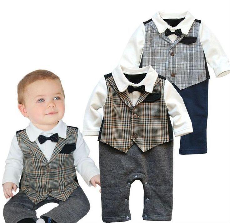 Details about Baby Boy Wedding Check Tuxedo Suit Bowtie