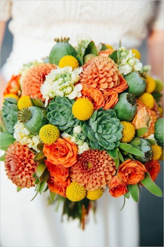 La Mariée en Colère - Galerie d'inspiration, bouquet mariée, mariage, wedding, bride, flowers, fleurs, jaune, yellow, green, vert, orange