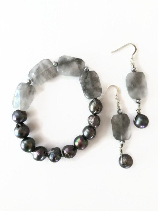 Cloudy Quartz Stretch Bracelet Black Fresh Water Pearls Gray Crystals and Dangle Earrings Christmas Gift Jewelry Set (ST39, E103) by JulemiJewelry, $15.00