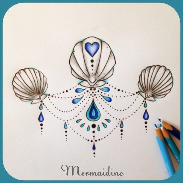 Pretty sea shell tattoo design for a mermaid #seashells #mermaid #tattoodesign…