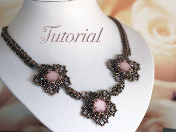 Tutorial for beadwoven necklace 'Flora'  PDF by TrinketsBeadwork