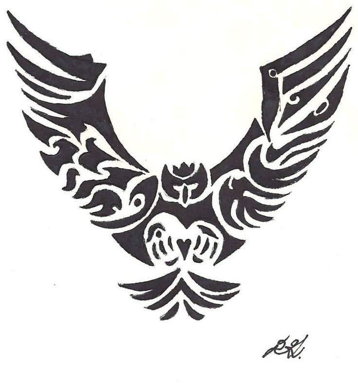 Amazing Black Tribal Flying Owl Tattoo Design