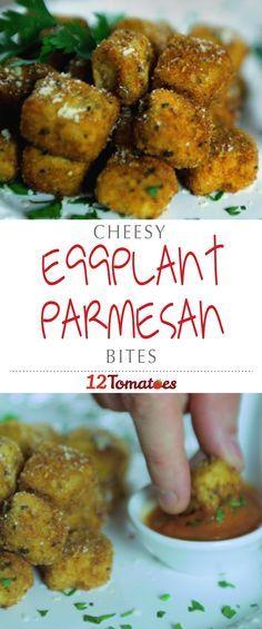Eggplant Parmesan Bites | Here, we took all the classic elements for eggplant parmesan (breaded eggplant, parmesan cheese and tomato sauce), and just made them…mini.