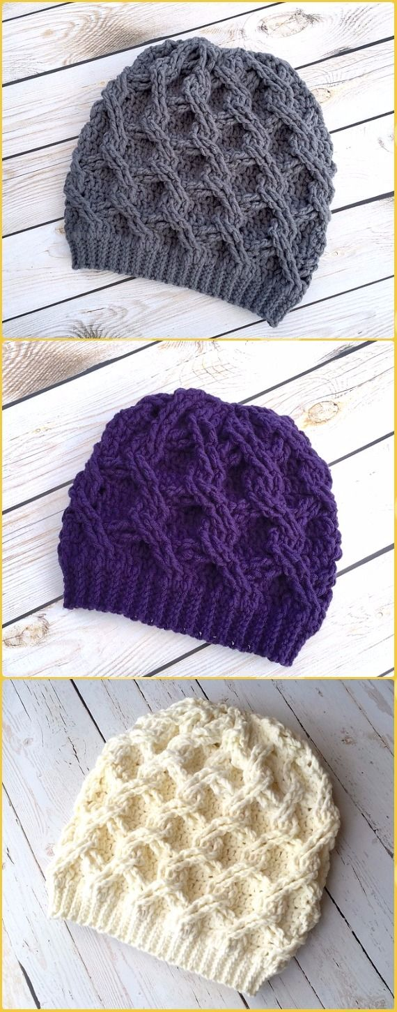 Crochet Chain Link Slouch Hat Paid Pattern - Crochet Cable Hat Patterns
