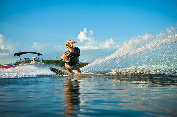 Waterskiing. Just you and the power of the boat.