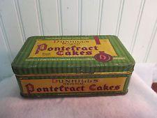 Vintage UK English Dunhill Licorice Pontefract Cake Tin Box, OLD Advertising
