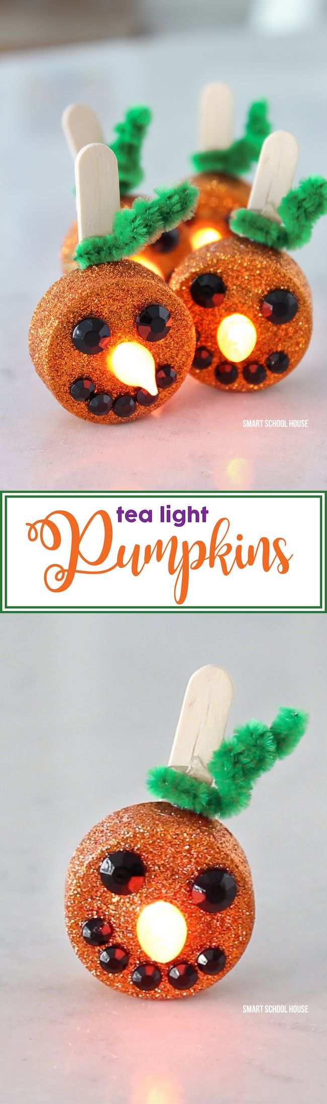 Tea Light Pumpkins - little orange flameless tea lights that stand up and smile! Turn on the candle and the flame becomes the glowing pumpkin nose. They are ADORABLE and so easy to make!