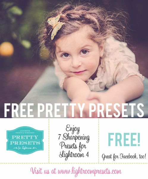 7 Free Presets for Sharpening in Lightroom 4 | Pretty Presets for Lightroom    Photo Credit: Brooke Logue Photography