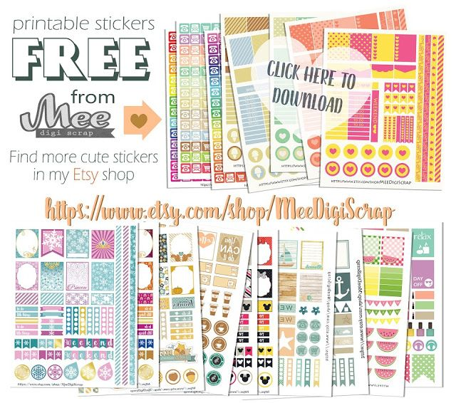 8 Sheets of Free Planner Sticker from Mee Digi Scrap {on Facebook}