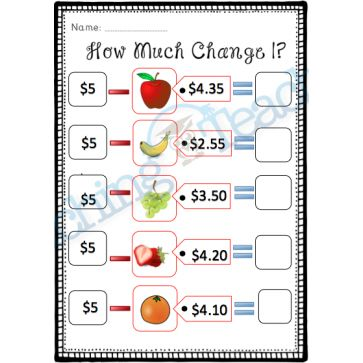How much change? (Subtracting from $5)