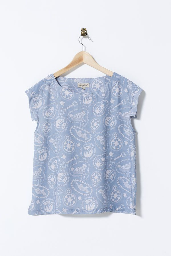 A charming shape with sleeve panels featuring fun prints in cooling linen/tencel.  linen tencel blend digital or screen print French seams size: S,...