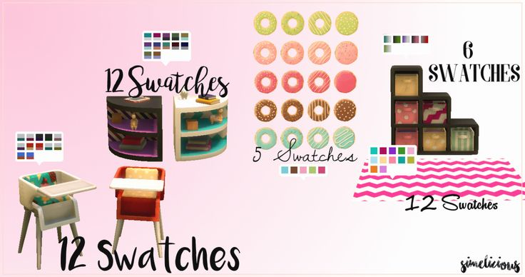 Toddler FurnitureHey Guys! Here are some simple recolors of toddler furniture. Thanks to @simwill for the cool idea! There are 5 new items with matching design and patterns. I hope you enjoy!...