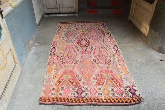 4.6 x 9 Foot Antique Pink Color Turkish Anatolian kilim rug,Very High Quality Fine Woven Turkish Orange,Red,Peach,Pink,Purple,Gray,Black Rug