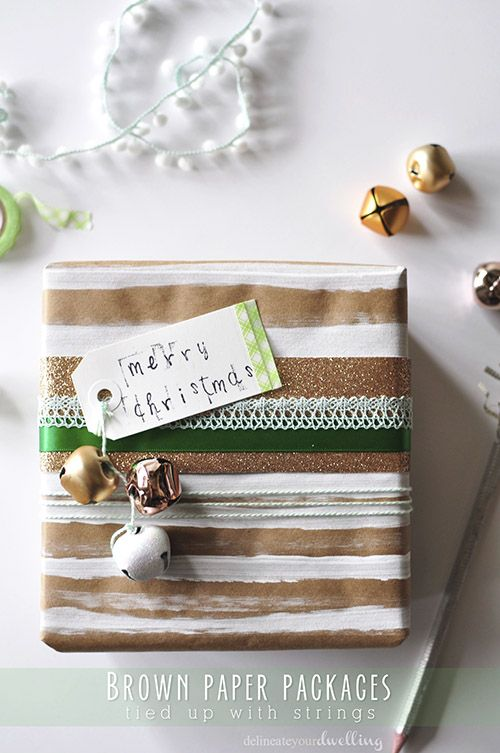 Simple Wrapping Paper tips! Use Brown Paper and ribbons to wrap your Christmas presents this year. Delineateyourdwelling.com