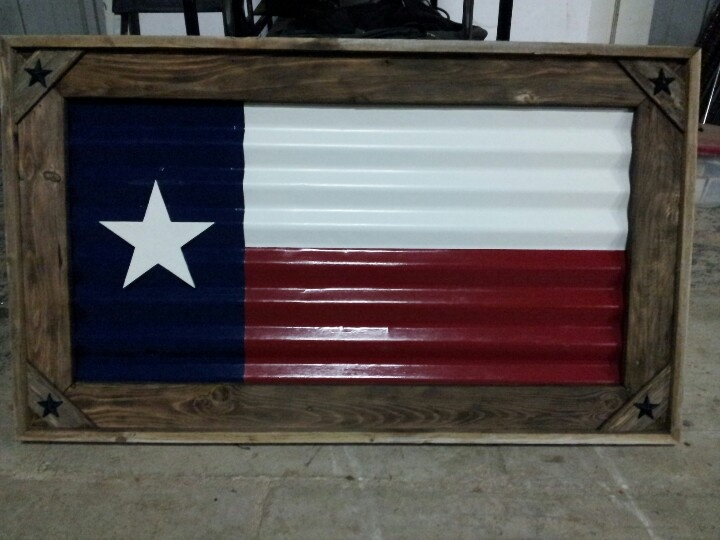 Texas Flag Made Out Of Old Tin And Old Fencing Material