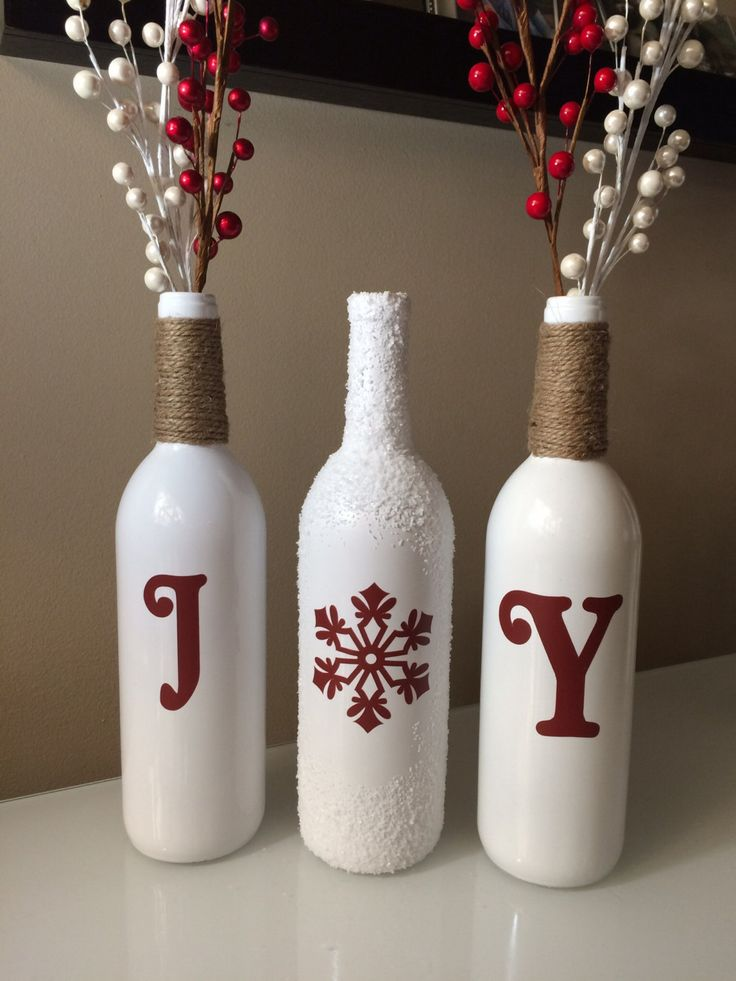 Joy wine bottles christmas decoration snow wine bottles for Christmas bottle decorations