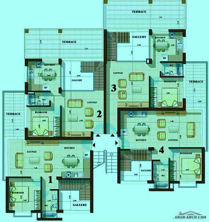 تصميم 4 شقق دوبلكس Duplex Plans Duplex House Duplex Plans Duplex House Duplex