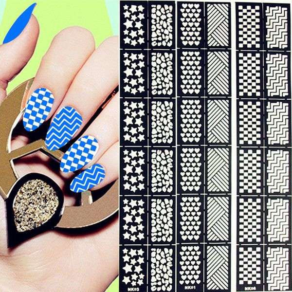 12Tips/Sheet Nail Vinyls Easy Use Nail Art Manicure Stencil Stickers 6 Patterns #unbranded
