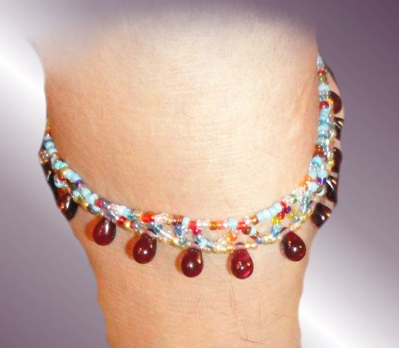 Beautiful 9 ANKLE BRACELET, made of tiny variety colored glass beads.