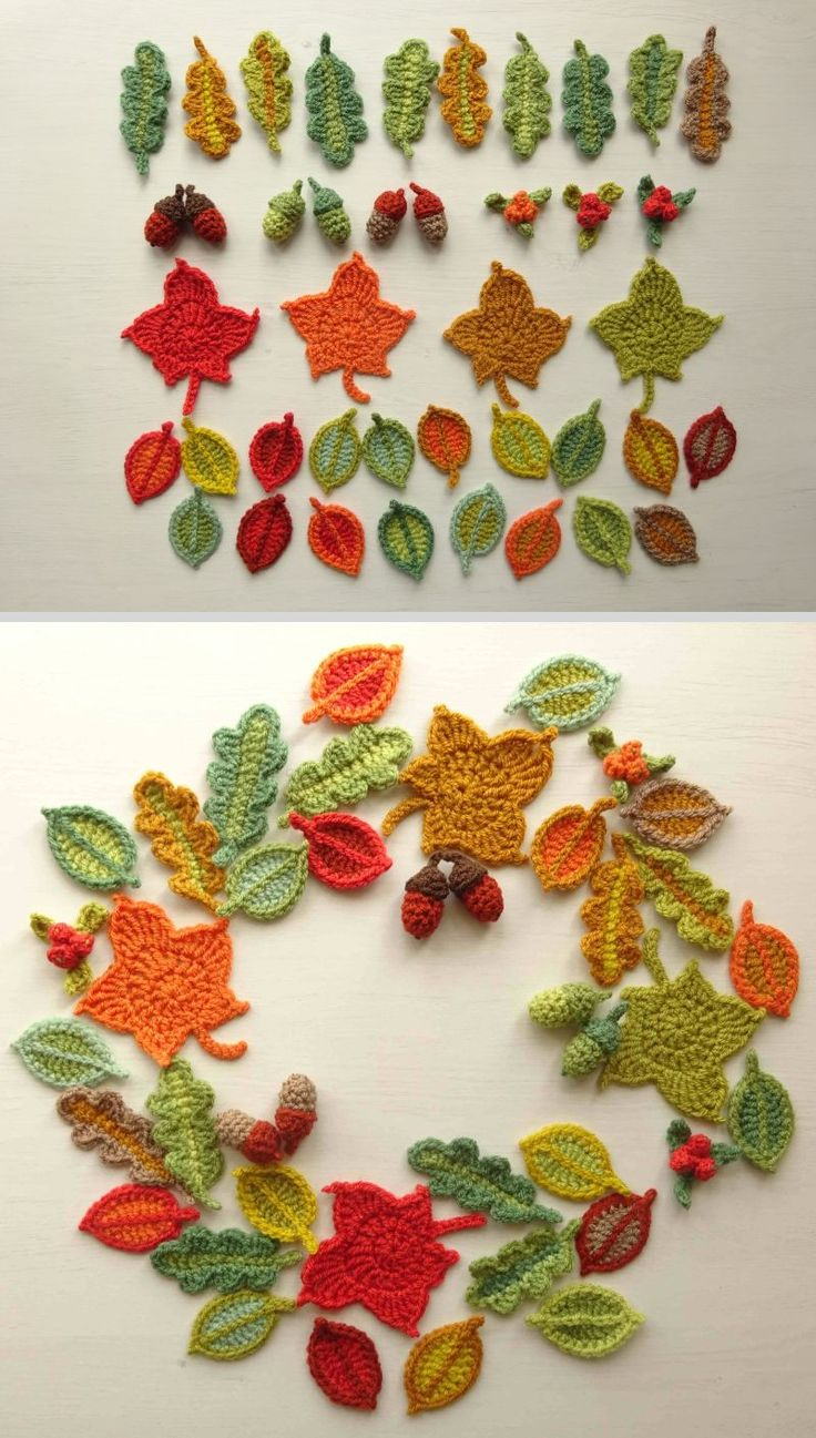 """Autumn leaves, acorns, & berries garland ~ free patterns & step-by-step photo tutorial by Lucy of Attic24. Beech leaves (2.4""""), oak leaves (3.5""""), acorns, & berries. Worked here in Stylecraft Special DK with 4mm/G hook. #crochet #applique"""