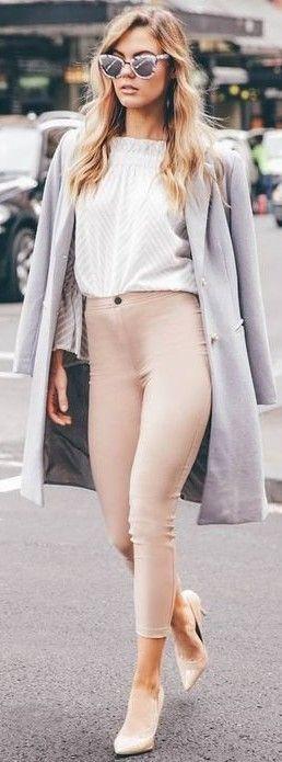 Grey Coat + White Top + Nude Pants                                                                             Source