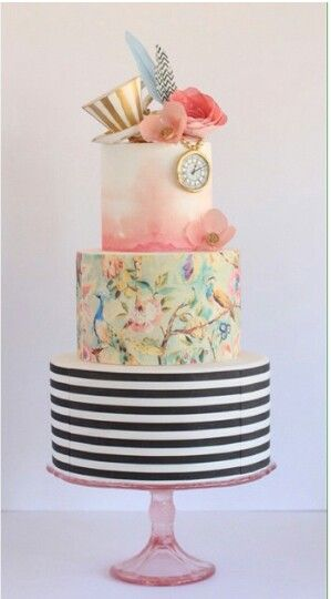 Alice In Wonderland Theme 3 Tier Cake