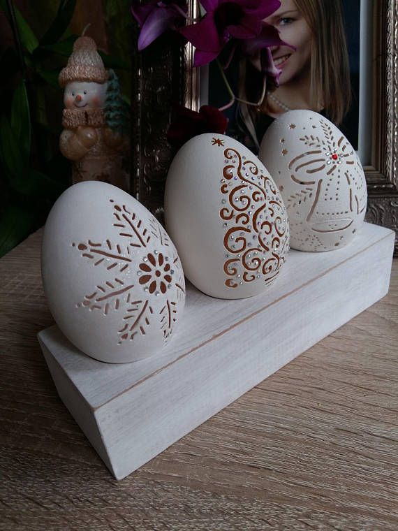 Set of 3 Christmas Ornament Carved Goose Eggshell Christmas