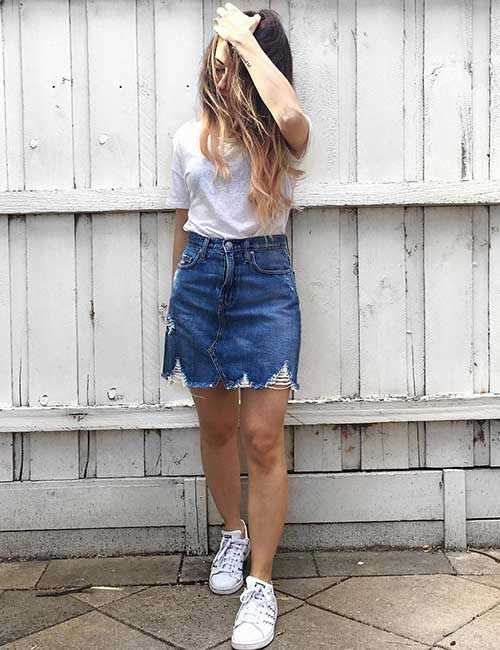 2366fa740841 Cute Denim Skirt Outfit Ideas – 18 Different Ways To Style It | Outfits | Denim  skirt, Skirt outfits, Denim skirt outfits