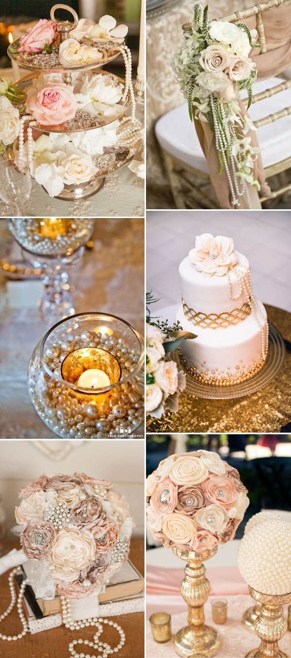 vintage wedding decor ideas with pearl details