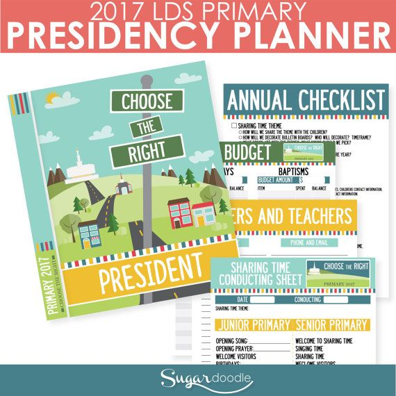 2017 LDS Primary Presidency Planner  Choose the by SugarDoodleShop