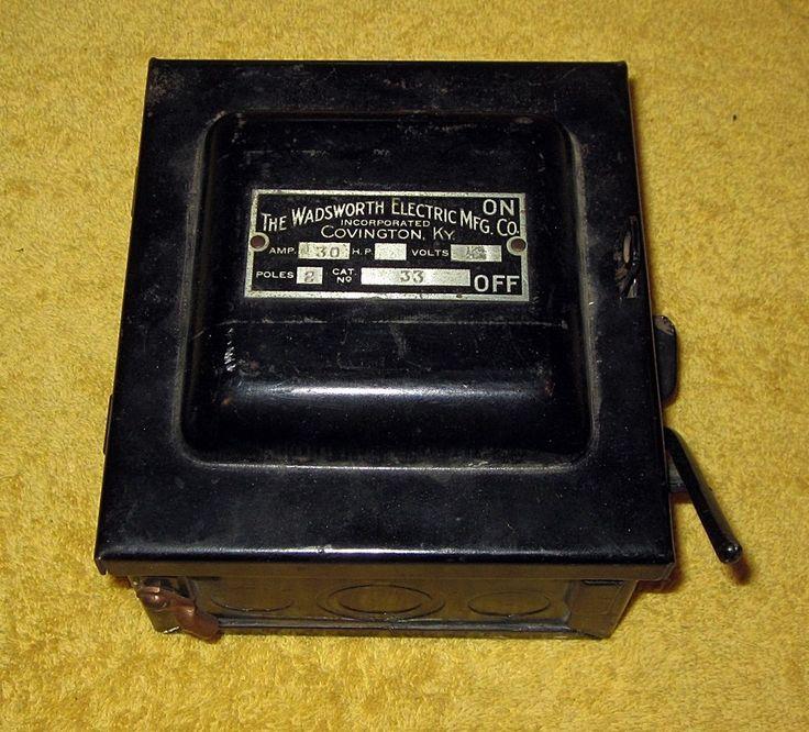 Vintage Wadsworth Electric Mfg Co Covington Ky 30 Amp Fuse Box  Wadsworth