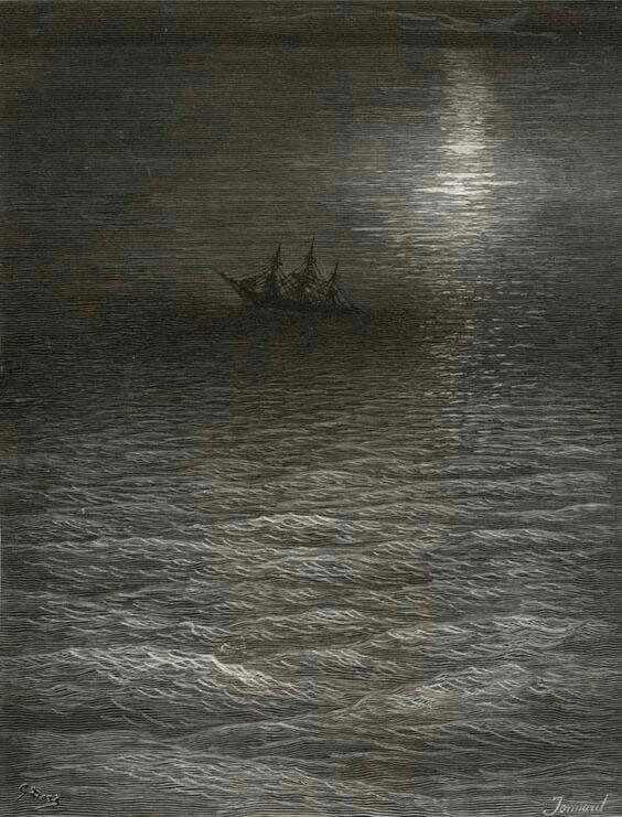 Gustave Dore', vascello abbandonato in mare sotto il chiaro di luna