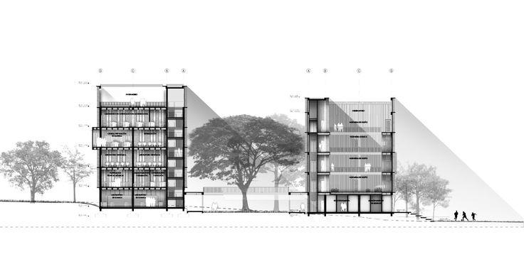 Espacio Colectivo Arquitectos, primer lugar en Concurso Edificio de Laboratorios de la Universidad Javeriana de Cali,Corte/Sección A-A'