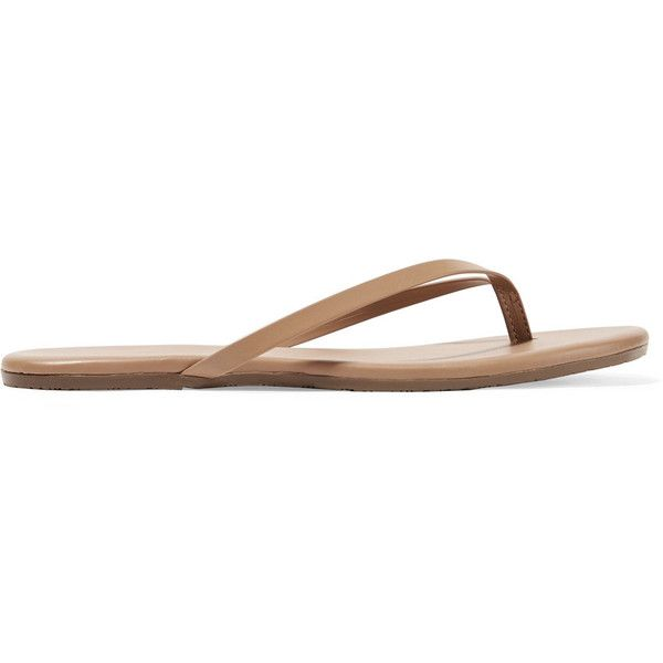 TKEES Lily matte-leather flip flops (430 NOK) ❤ liked on Polyvore featuring shoes, sandals, flip flops, tan, beach flip flops, leather sandals, tkees sandals, leather slip on shoes and tan leather sandals