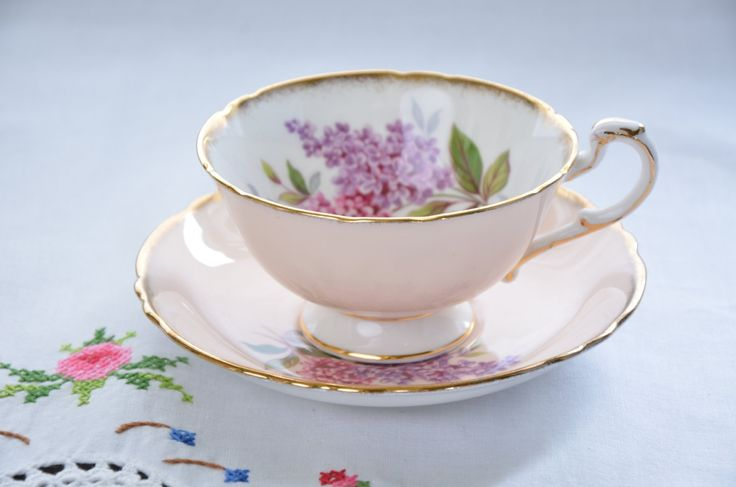 Paragon fine bone china tea cup and saucer/ pink tea cup/ pink and purple lilacs by VieuxCharmes on Etsy