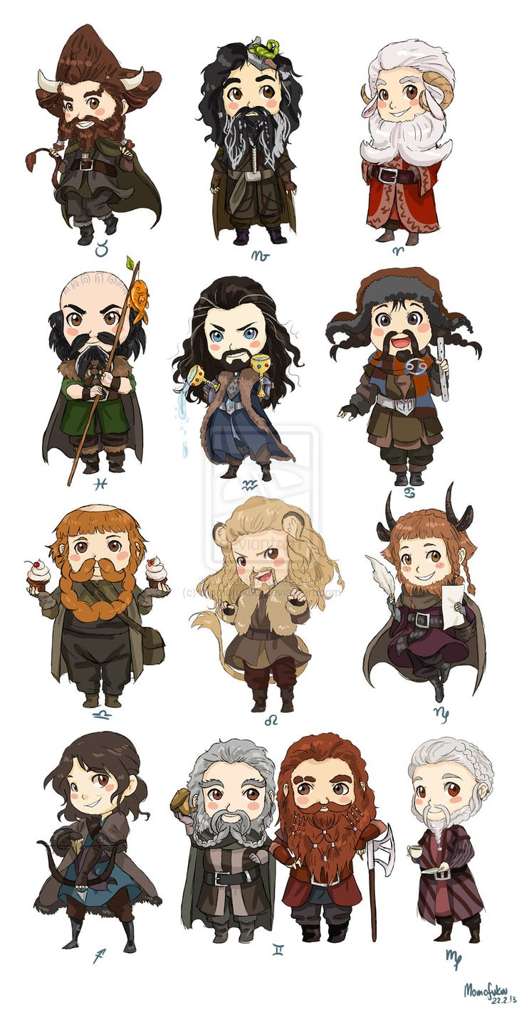 Chibi Zodiac Dwarves by momofukuu on deviantART.--- --- SO CUTE. I'm a Leo so I'm Fili yay