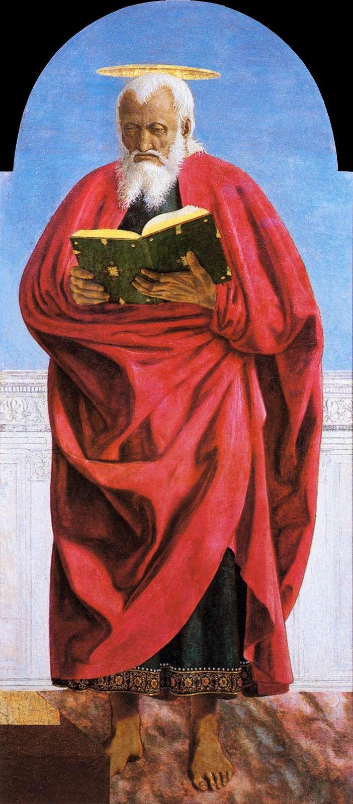 Piero della Francesca. Polyptych of St Augustine: St John the Evangelist. (c. 1460). Tempera on panel, 132 x 58 cm. Frick Collection, New York