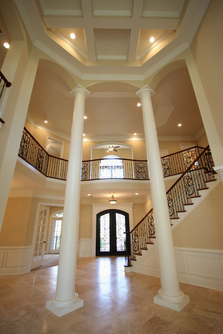 Foyer hallway lighting traditional entry chicago by tower - Amazing Open Foyer With Extra High Columns Balcony Stair Case And Architectural Ceiling